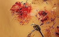 壁の壁画 壁紙 ウォールカバー 抽象的な刺繡効果の花や鳥 壁画 壁紙 ベッドルーム リビングルーム ソファ テレビ 背景 壁 壁面装飾のための,150x105cm
