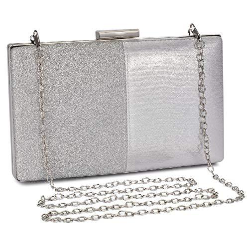 BAIGIO Bolso de Noche Bolso de Hombro Mujer Glitter Diamond Embrague Bolsos de Hechos a Mano Cadena de Encogimiento para Boda Fiesta Baile