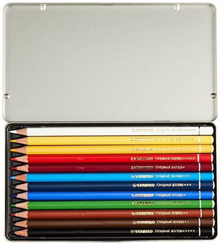 Lápiz de color de alta calidad STABILO Original – Caja de metal con 12 colores