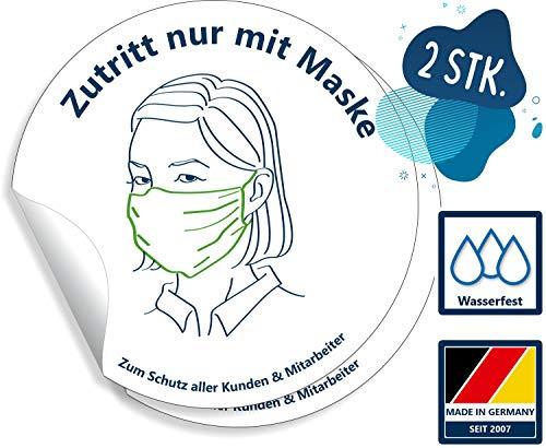 Aufkleber Hinweis Zutritt nur mit Maske 15cm rund | 2 Stück | Ablösbar & wasserfest Maskenpflicht
