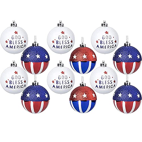 July of 4th Ball Hanging Patriotic Ball Ornaments USA Flag Balls for Independence Day Party Home Decor 12PCS Decor-Modern