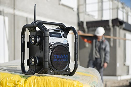 Perfectpro TEAMPLAYER Outdoorradio Baustellenradio mit FM, DAB+ und Bluetooth, AUX-In, LCD Display mit Uhr, resistent gegen Staub geeignet für Werkstatt, Garten, Camping oder Baustelle.