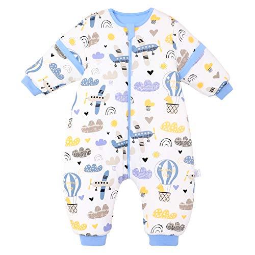 Baby Schlafsack mit Beinen Warm gefüttert winter kinder schlafsack abnehmbaren Ärmeln,Junge Mädchen Unisex Schlafanzug (Blue Plane,18-36 Monate(baby height 85-95cm))
