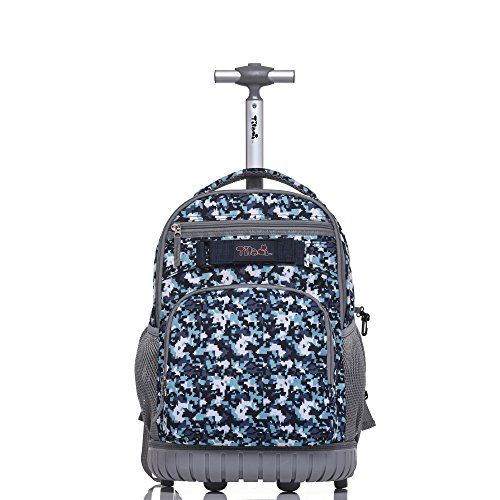 Tilami Rolling Backpack 18 inch Boys and Girls Laptop Backpack, Camouflage