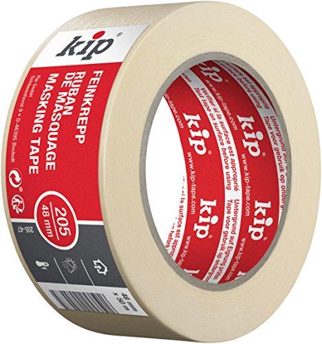 Kip Tape 205-47 Feinkrepp – Professionelles Malerkrepp – Imprägniertes Abdeckband zum Streichen & Lackieren – 48mm x 50m