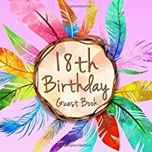 18th Birthday Guest Book: Boho Feathers Rustic Wood Frame Keepsake Party Guestbook for 18 Year Bday Party - Purple Blue Pink Green Yellow & Red Sign ... for Email, Name and Address  - Square Size