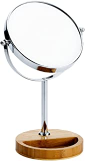 NYDZDM European Wooden Cosmetic Mirror Desktop Double-Sided Vanity Mirror HD Zoom Makeup Mirror 360 ° Rotating Beauty Mirror (Color : Normal face, Size : 6 inches)