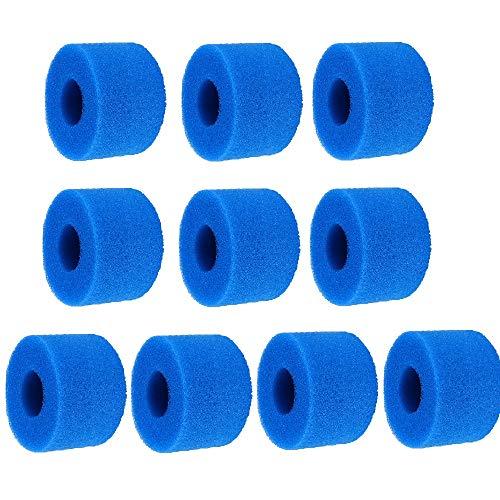 Irfora 10 Cartouches de Filtres de Piscine en Mousse, Filtre de Piscine Réutilisable/Lavable pour Spa Intex Type S1, Bleu 10,8 x 7,3 cm