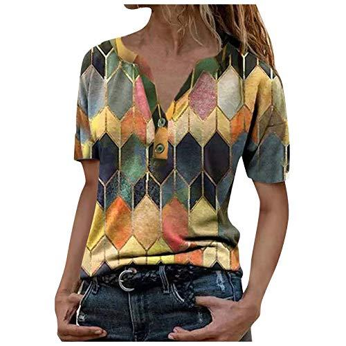 MORCHAN Femmes Manches Courtes imprimé Animal 3D Hauts O Tops Col T-Shirt Chemisier