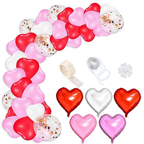 WATINC 16Ft 108Pcs Valentinstag Herzballons Girlande Kit Rot Rosa Folienballons Weiß Champagner Gold Konfetti Herzluftballons DIY Arch Strip Klebepunkt Accessories für Hochzeit Geburtstag Party