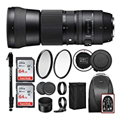 BUNDLE INCLUDES: Sigma 150-600mm f/5-6.3 DG OS HSM Contemporary Lens for Canon, USB Dock for Canon Lenses, Sling Backpack, 64GB SD Card, 95mm UV Lens Protection Filter, 95mm Circular Polarizing Filter, and 67-inch Lightweight Monopod COMPATIBLE with ...