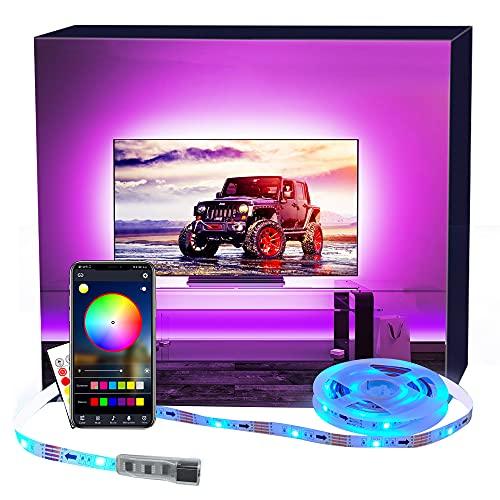 LED TV Hintergrundbeleuchtung APP, MY LAMP 2.5M LED Strip USB Bluetooth TV LED Licht für 40-60 Inch RGB 5050 APP Control Sync mit Music Bias Lighting LED Beleuchtung für HDTV, TV-Bildschirm, PC usw.