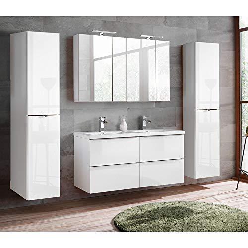 Lomadox Komplett Badmöbel Set mit Doppel-Waschtisch inkl. Keramikbecken 121cm, Hochglanz weiß & Wotaneiche, inkl. LED-Spiegelschrank