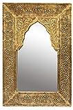 Oriente Espejo Espejo de Pared Malik 42 cm de Altura de Oro | Gran Espejo de la Sala de Marruecos con Marco de Madera...