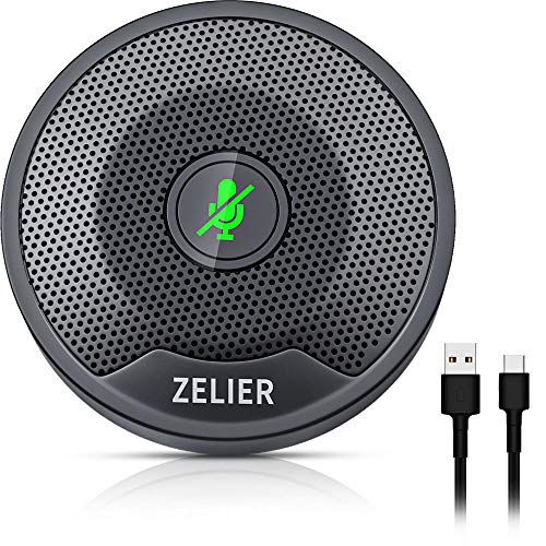 Conference USB Microphone, ZELIER Omnidirectional PC Computer Microphone, with Mute Button & Led Indicator Mic for Video Conference,Zoom,Skype, Online Class, Chatting, Plug&Play (Windows/Mac OS X)