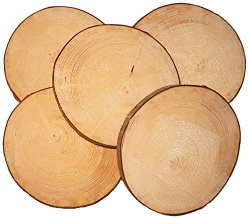 Mercarimus 5 Stück Holzscheiben 26-29 cm Baumscheiben mit Rinde Astscheiben Deko Basteln Floristik Hochzeit