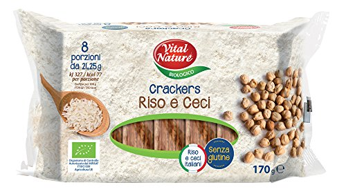 Vital Nature Spa Crackers di Riso e Ceci Bio - Pacco da 9 x 170 g, Senza glutine