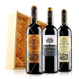 Classic Rioja Red Wine Trio in Wooden Gift Box - 3 Bottles (