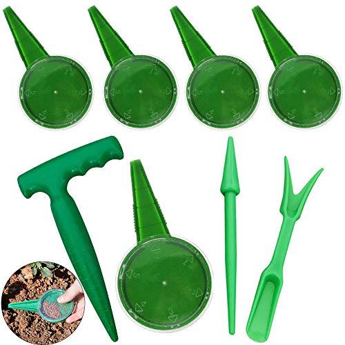 Mini Giardino Piantare Strumento Mano Seminatrice per Attrezzi da Giardino Piantatrice Strumento Quadrante Seme Seminatrice Dispensatore di Semi Attrezzi da Giardino Seminatore (8 Pezzi, Verde)
