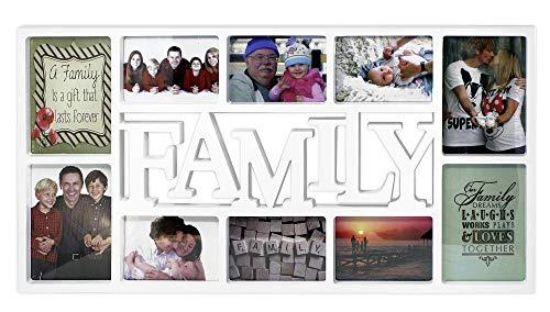 Close Up® 3D Fotorahmen Family für 10 Fotos- Qualität Collage Bilderrahmen XL - ca. 73x37 cm - weiß
