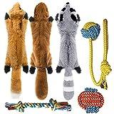 Peteast 3 Juguetes chirriantes y 3 Juguetes de Cuerda para Perros, Juego de Juguetes de Cuerda para Masticar Cachorros para Perros S / M / L, Mascotas