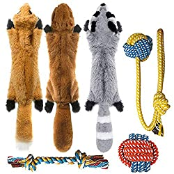 Super Value&Great Fun-Includes 3 squeaky toys and 3 Rope Dog Toys, for Small, Medium and Large Breeds. 3 No stuffing toy- Fox,Raccoon,Squirrel, include 2 squeakers each to deliver more sound to keep your best friend entertained. 3 Rope chew toys-Made...