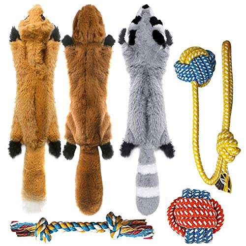 Peteast -3 Squeaky Toys and 3 Rope Dog Toys, No Stuffing Squeaky Plush Fox...