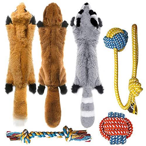 Peteast 3 Quietschspielzeug und 3 Seil Hundespielzeug, kein Füllen, quietschender Fuchs, Waschbär Eichhörnchen, Welpen, Kauseil, Spielzeug für S/M/L Hunde und Haustiere