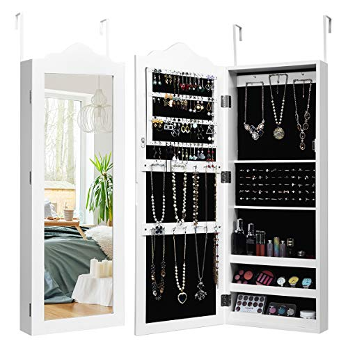 Giantex Wall Door Mounted Jewelry Armoire with Full Length Mirror, Bedroom Bathroom Hanging Jewelry Cabinet Chest with 56 Ring Slots 23 Necklace Hooks 72 Ring Slots Deep Storage Organizer, White