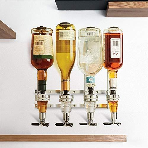 Rashion, supporto da parete a 3/4 per bottiglie, dispenser per bevande e liquori, in acciaio 4 Bottle