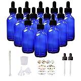 HWASHIN 12 Pack 2oz Cobalt Blue Glass Bottles...