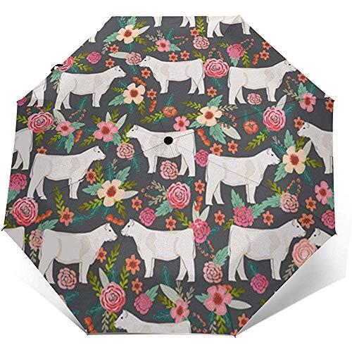 Charolais Cattle Fabric Kühe Florals Far Travel Umbrella Sonnenschirm-Lightweight Windproof Sunscreen Umbrella-Auto Öffnen und Schließen-Taste