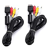 Young4us 2 Pack Audio Video RCA Cables for PS3 PS2 PS1 Playstation, Game Console Component Connection Accessories AV Cable (8.2ft/2.5m)