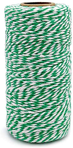Turbokey Christmas Cotton Bakers Twine, 2 mm Green and White Twine String Cotton Cord Rope for Wrapping DIY Arts Crafts Party Decorations, 100M/328 Feet (White+ Green)