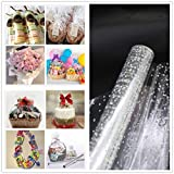 Clear Cellophane Wrap Roll 33'' x 115' Ft, 3 Mil Thick (White Dot) Clear Cellophane Wrapping Paper | Shrink Wrap Roll | Cellophane Roll | Cellophane Wrap for Gifts, Baskets, Flowers
