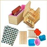 Handgefertigt verstellbar Holz Seife Laib Cutter Form + Silikon Seife Form mit Holz Box + Edelstahl...