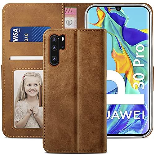 YATWIN Cover Huawei P30 Pro, Flip Custodia Portafoglio in Pelle Huawei P30 Pro, Interno TPU Antiurto, Supporto Stand, Stile Libro e Chiusura Magnetica Cover per Huawei P30 Pro - Marrone Scuro