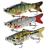 JOHNCOO 6 Segments Multi Jointed Swimbaits Kit Fishing Lures for Bass Trout Slow Sinking Freshwater Saltwater Lifelike Fishing Baits Box Gifts for Men