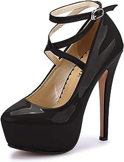 OCHENTA Femme Escarpins Bride Cheville Sexy Talon Aiguille Plateforme Epais Fermeture Lacets Chaussures Club Soiree