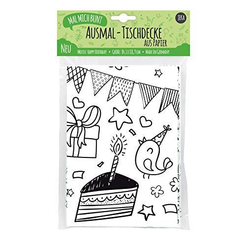 JEKA Papier-Tischdecke zum Ausmalen I Motiv Happy Birthday I Tischdecke für Kindergeburtstag mit vielen Ausmalbilder I