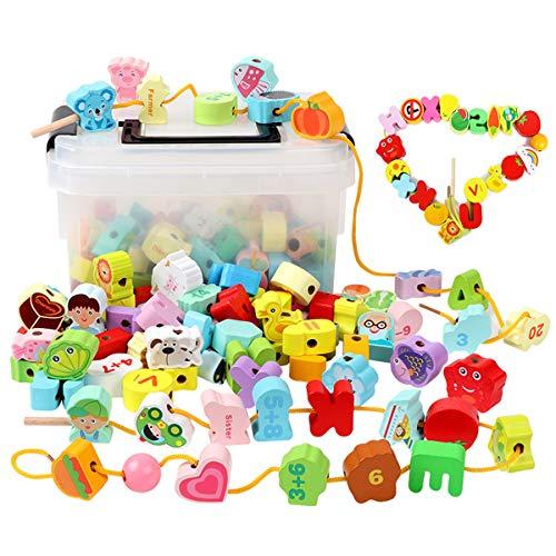 ひもとおし 紐通しおもちゃ Bacolos 木のおもちゃ 知育玩具 150個セット モンテッソーリ教育 おもちゃ 超大容量 収納ケース付き 木製おもちゃ 指先の知育 絵柄認知 数字認知 英語勉強 誕生日プレゼント 6歳以上対象