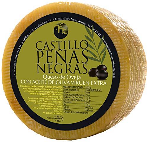 Castillo Peñas Negras | Queso Curado en Aceite de Oliva Virgen Extra | 2,8 kg | Cortado en Cuartos | Envasado al Vacío | Queso de Oveja Tipo Manchego | Sabor Intenso | Maduración de más de 6 Meses