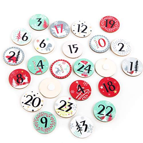 Logbuch-Verlag Adventskalender Zahlen aus Holz Holzzahlen rund 1-24 mit Klebepunkt rot weiß grün Holzscheiben Ø 3,5 cm DIY Weihnachtskalender Nummern 1 bis 24