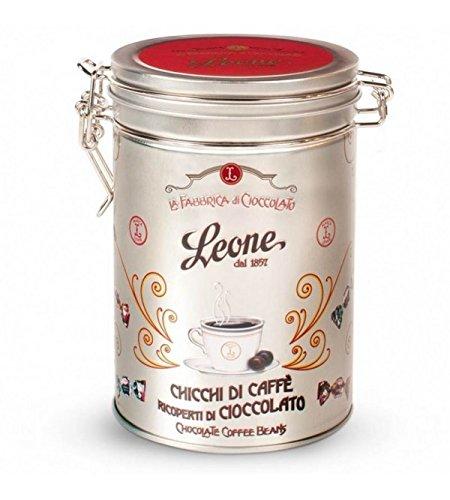 Pastiglie Leone - Granos de café cubiertos con chocolate en lata de 150 g