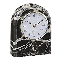 Designs by Marble Crafters CL40-BZ Black Zebra Marble Desk Clock