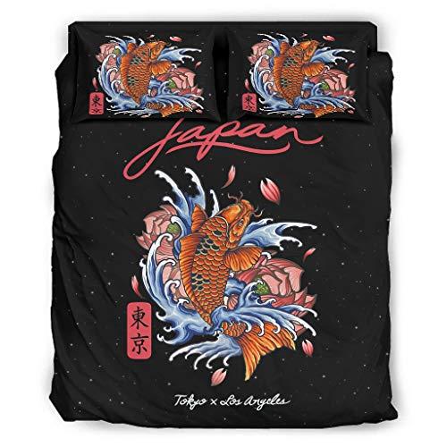 Juego de ropa de cama de 4 piezas, diseño de peces japoneses Koi Tokio, transpirable, refrescante y sin arrugas, 228 x 228 cm, color blanco