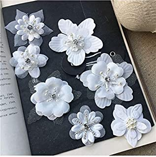 7 pcs White Organza Embroidery 3D Lace Flower Fabric Appliques with Peal Beads Crystal Iron On Patches DIY Decoration for Clothing Backpacks Jeans Caps Shoes Dress Bridal Wedding (f1)