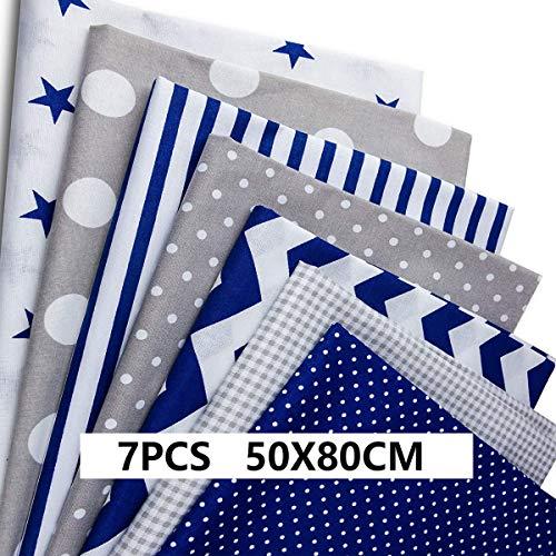 Tissu de coton 7 pièces 50 cm * 80 cm gros quartiers, tissus de patchwork de bricolage Haberi, tissus carrés de matériel pour la couture, vendu au mètre