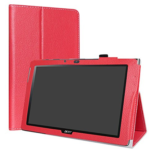 """Acer Iconia One 10 B3-A40 hülle,LiuShan Folding PU Leder Tasche Hülle Case mit Ständer für 10.1\"""" Acer Iconia One 10 B3-A40 Android Tablet,Rot"""