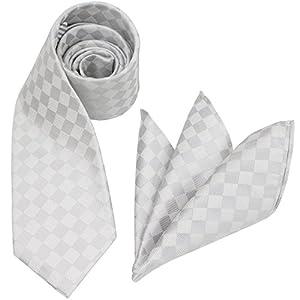 (グランクレエ) 日本製 ふじやま織シルクネクタイ&ポケットチーフセット (柄ブロックチェック/ホワイトシルバー)